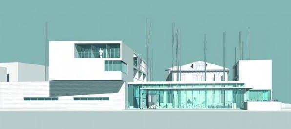 Front-Ansicht des Campus-Modells.