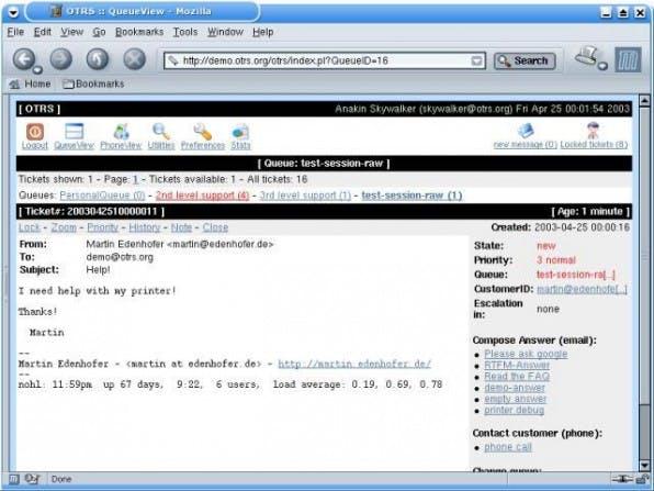 Die übersichtliche Gestaltung des Webinterfaces hilft bei der effektiven Bearbeitung von Anfragen.