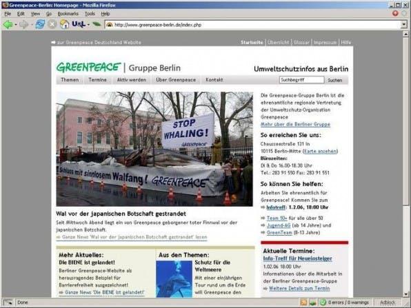 URL: http://www.greenpeace-berlin.de/, Auftraggeber: Greenpeace Gruppe Berlin, Agentur: sunbeam.