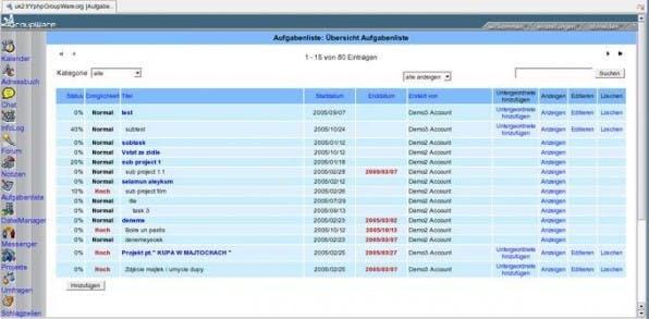 Aufgabenliste der phpGroupware, hier mit dem JustWeb-Template.