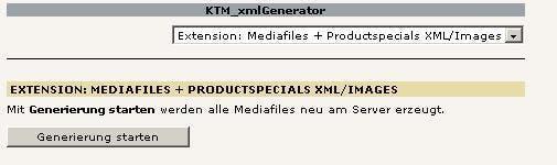 Über das Backendmodul werden per Klick alle XML-Daten und Bildskalierungen vorgenommen.