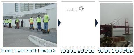 Die Screenshots zeigen die Beispielextension mit dem Ablauf nach Linkaktivierung.