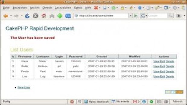 Rapid Prototyping Framework: CakePHP