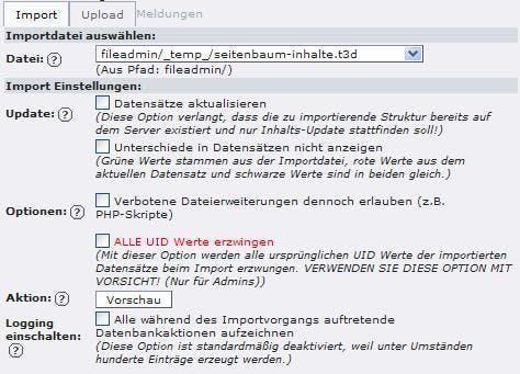"""Im Reiter """"Import"""" wird die t3d-Datei ausgewählt."""