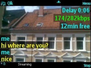 Qik streamt live vom Handy, Kommentare aus dem Netz zeigt Qik auf dem Screen des Anwenders.