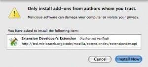 Beim Installieren der Developer's Extension muss der Sicherheitsdialog bestätigt werden.