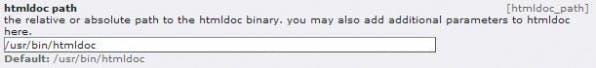 Nach der Installation möchte der PDF Generator wissen, wo HTMLDoc installiert ist.