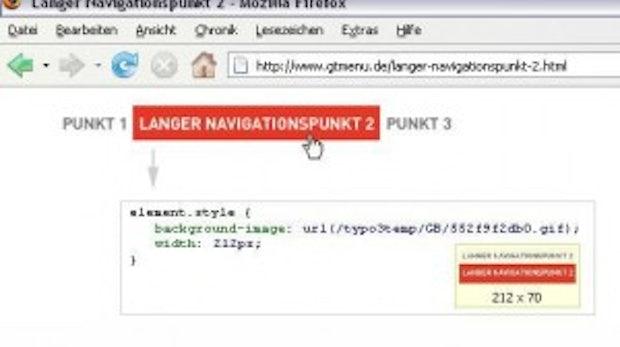 Ein barrierefreies grafisches Menü mit TypoScript: GTMENU
