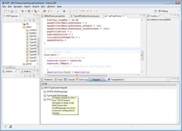 """Die Entwicklungsumgebung """"DEV3"""" basiert auf Eclipse und unterstützt TYPO3-Entwickler bei der täglichen Arbeit unter anderem mit TypoScript-Code-Schnipseln."""