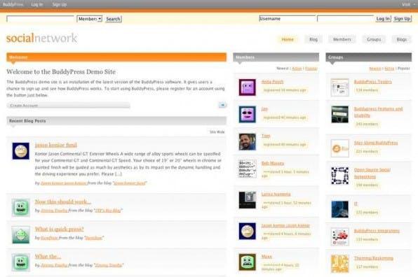 Demo-Installation von BuddyPress auf testbp.org. Blogs treten beim Standardlayout in die zweite Reihe.