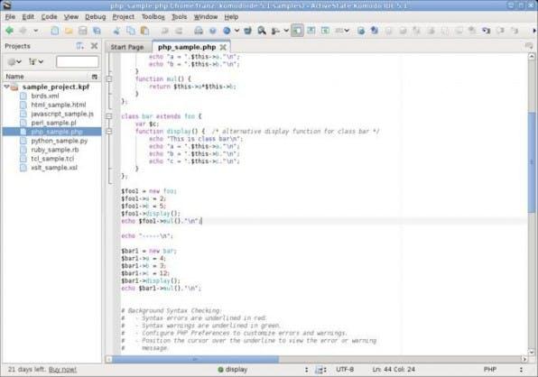ActiveState Komodo bietet ein ausgefeiltes Projektmanagement.