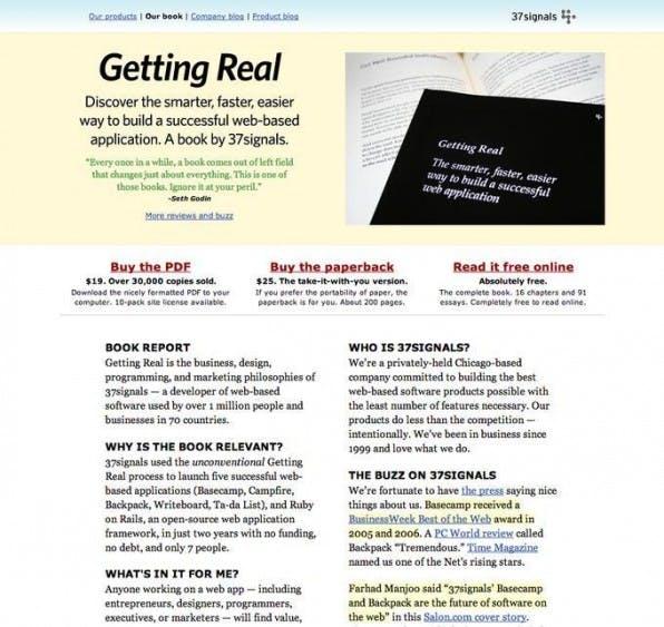 """Wie entwickelt man in einem kleineren Team schneller bessere Software? Das komplette Buch """"Getting Real"""" steht frei verfügbar im Netz."""