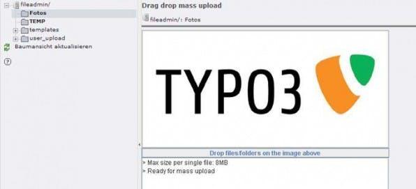 """Mit der Extension """"Drag Drop Mass Upload"""" lassen sich mehrere Dateien oder Ordner auf einen Schlag komfortabel auf den Server übertragen."""