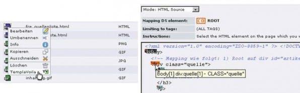 Abbildung 2: Auswahl der Vorlage für das Mapping (links), Mapping des Root-Containers (rechts).
