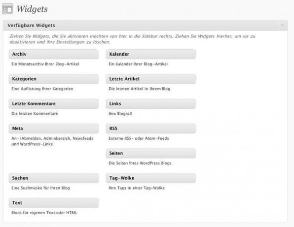 Verfügbare Widgets kann man im Backend per Drag & Drop aktivieren.