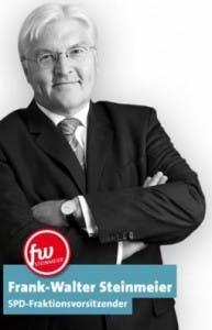 Frank-Walter Steinmeier ließ sich im Wahlkampf von einem Logo aus der Crowd unterstützen.
