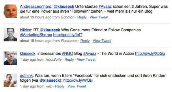 Ein guter Social-Media-Berater interagiert über seinen Twitter-Account mit anderen Twitter-Nutzern.