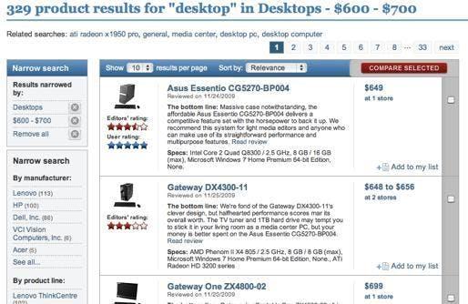 Dank der facettierten Suche von Solr (links) können Website-Besucher ihre Suchergebnisse mit Filtern komfortabel verfeinern.