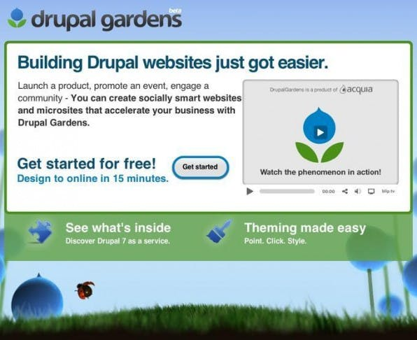 Die Startseite von Drupal Gardens ist der Startpunkt zur eigenen kostenlosen Drupal-7-Website.