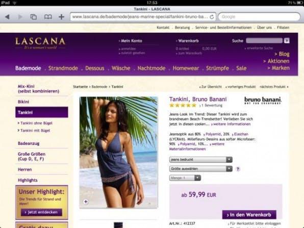 Der Webshop  von lascana.com gilt bereits heute als für das iPad optimiert. Der integrierte YouTube-Player spielt Videos  ab und umgeht so die  Flash-Beschränkung des Geräts.