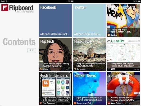 Setzt neue Standards: Die iPad-App Flipboard repräsentiert bislang das userfreundlichste Modell eines Social Magazines.