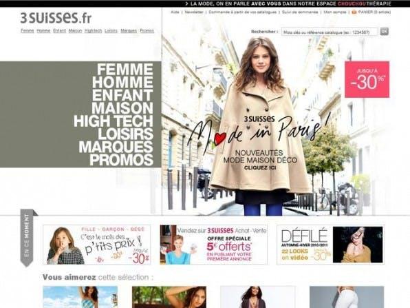 Der Aufbau der französischen Seite 3suisses.fr ist ungewöhnlich und erschwert Besuchern die Orientierung.