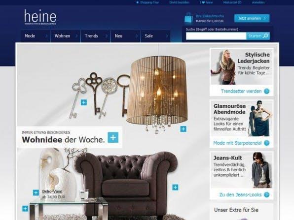 Heine bietet jedem Nutzer einen passenden Einstieg: klassische Navigation, prominente Suche und visuelle Teaser.