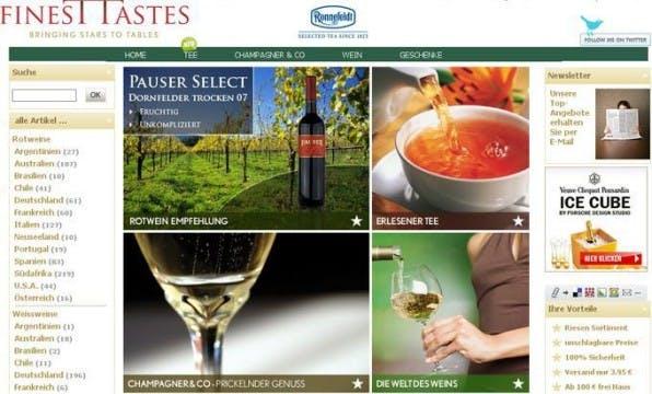 """Beispiel für das """"Master & Slave""""-Konzept: Neben der Hauptseite vinexus.de betreibt die Vinexus Deutschland GmbH auch finesttastes.de und weitere Spezialshops."""