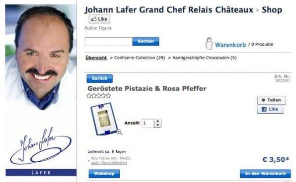 Johann Lafer setzt auf einen Facebook-Shop innerhalb seiner Facebook-Seite.