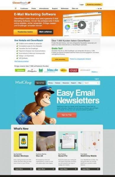 Design beeinflusst den ersten Eindruck: Nahezu identisches Produkt (Newsletter-Dienst), aber vollkommen unterschiedliche visuelle Präsentationen – oben CleverReach, unten MailChimp.