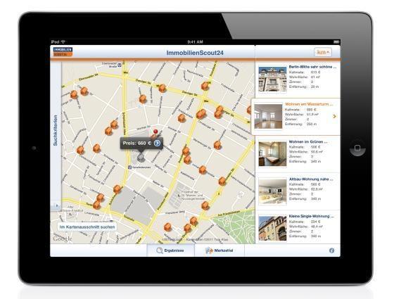 Die kartenbasierte Suche auf dem iPad ersetzt das Vor-Ort-Sein bei ImmobilienScout24.