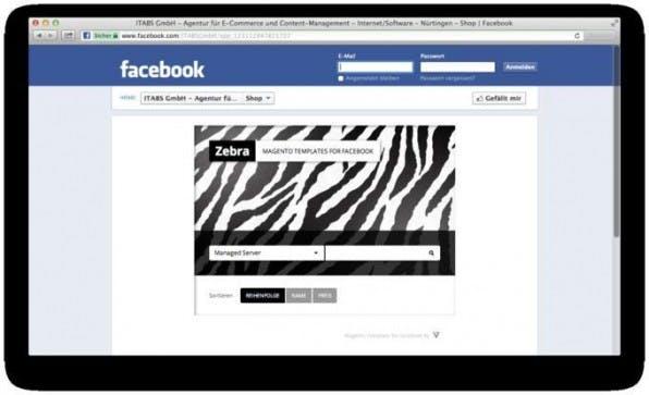Ein Dummy-Facebook-Shop mit der Zebra-Extension für Magento. Mit dieser Erweiterung können Magento-Nutzer ihren bestehenden Shop inklusive der bestehenden Datensätze innerhalb von Facebook nutzen.