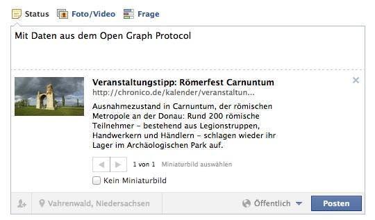 Das gleiche Bild zeigt sich bei Facebook. Im Beispiel mit unterstütztem Open-Graph-Protokoll.