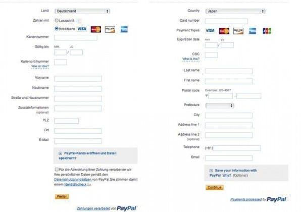 Paypal berücksichtigt kulturelle Unterschiede und fragt in Japan den Nachnamen vor dem Vornamen ab. Auch die Adressabfrage weicht von der uns bekannten ab.