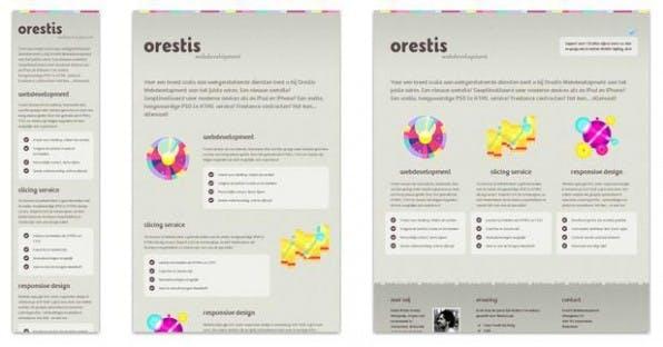 Das Responsive Design der Website orestis.nl mit drei Breakpoints: Smartphone-Version, Tablet-Variante und  Desktop-Ansicht.