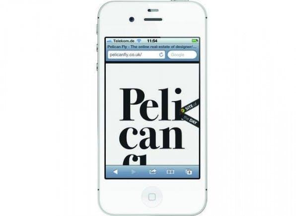 """Gewagte """"Platzverschwendung"""" in der mobilen Variante von pelicanfly.co.uk."""
