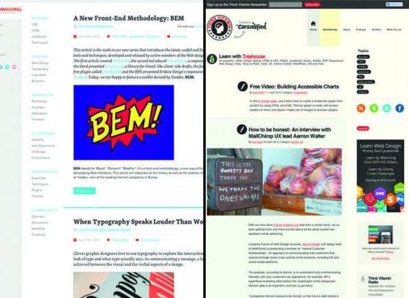 Sowohl Smashing Magazine als auch Think Vitamin bieten in der Desktop-Ansicht ihrer Online-Magazine eine ausgewogene Typografie.