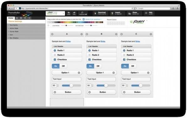 """Mit dem """"ThemeRoller"""" stellt jQuery Mobile einen grafischen Editor online bereit, mit dem Designer das komplette Look & Feel ihrer Apps leicht konfigurieren können."""
