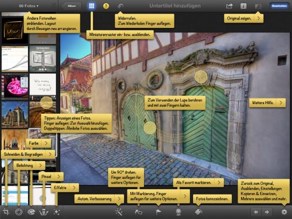 Vorbildliche Nutzerführung. Die iPhoto-App klärt den Nutzer über alle vorhandenen Gesten und die Funktionen der Oberflächenelemente zur Steuerung der Bildbearbeitung auf.