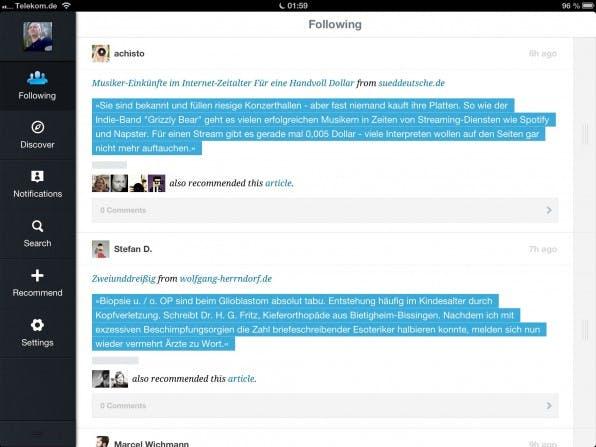 Navigationselemente an der Seite des Screens – wie hier bei Quote.fm – erleichtern dem Nutzer auf Tablets die Bedienung.