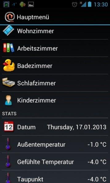 Mit der Android-App kann man auch von unterwegs auf OpenHAB zugreifen. Natürlich gibt es auch eine App für iOS.