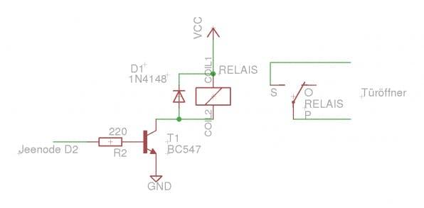 Der Schaltplan des Türöffners: VCC (Pin für positive Versorgungsspannung) und GND (Masse) müssen mit der Versorgungsspannung und Masse der JeeNode verbunden sein.