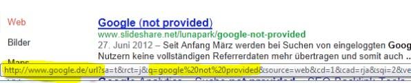 Der Ergebnislink eines Google-Suchtreffers über http enthält die Sucheingabe.