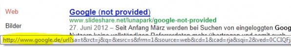 Der Google-Ergebnislink über HTTPS kommt ohne Sucheingabe daher.
