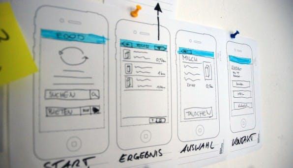 Ein UI-Sketch zeigt die wichtigsten Ansichten – auch in einem Storyboard. So lassen sich bereits konkrete Anwendungsfälle realisieren.