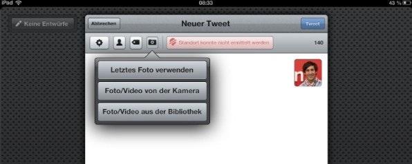 Bei Tweetbot erhält der User beim Hochladen eines Fotos die Option, das letzte erstellte Bild zu wählen. Das spart Zeit und verbessert die User-Experience.