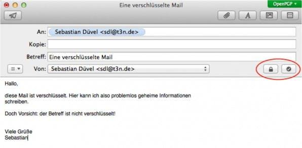 Über die zwei Icons rechts unter der Betreffzeile kann man E-Mail sowohl verschlüsseln als auch signieren (Abbildung 3).