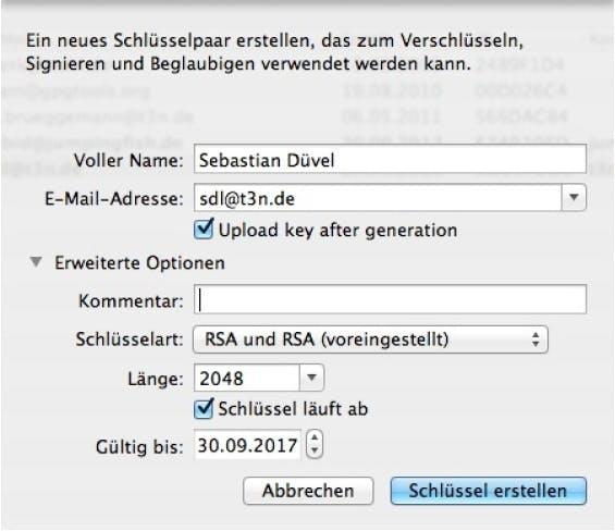 Bevor man PGP einsetzen kann, muss man zunächst einen Schlüssel erstellen (Abbildung 1).