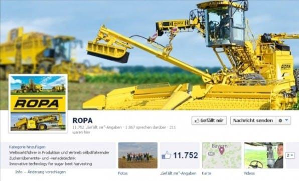 ROPA Maschinenbau ist seit 2011 auf Facebook aktiv und nimmt seine Fans mit seiner echt-bayerischen Kommunikation ein.