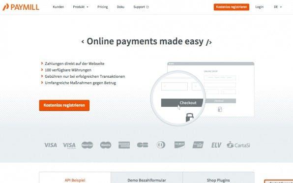 Paymill bietet Kreditkartenzahlung und Lastschriftverfahren an. (Screenshot: paymill.com)